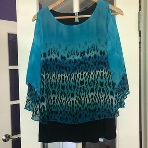 Perception Concept Animal Print Blouse Turquoise
